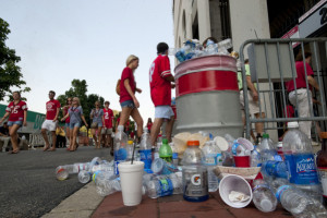 The trash barrels outside of Gate 25 at Ohio Stadium were overflowing with bottles and other waste as OSU fans entered the stadium Saturday, September 3, 2011. (Dispatch photo by Ty Wright)